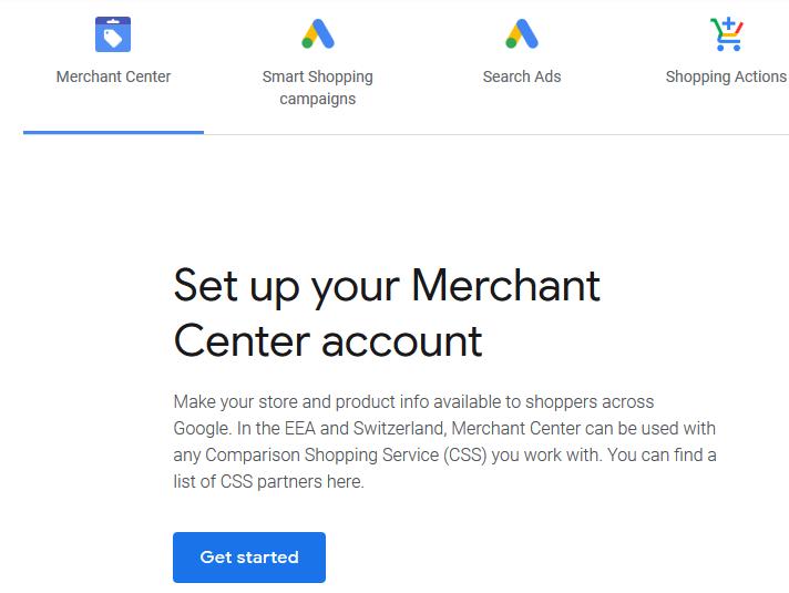 Merchant center account
