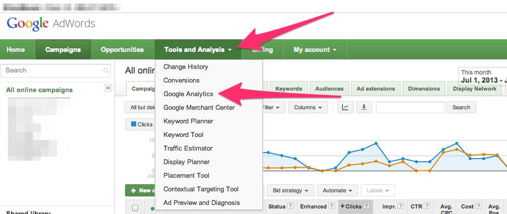 Google analytics in google ads